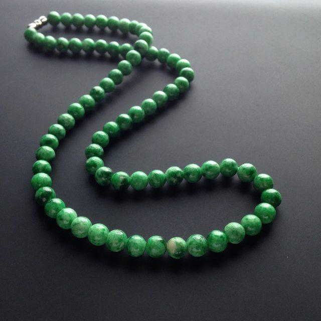 糯冰种深绿翡翠项链 75颗 7mm