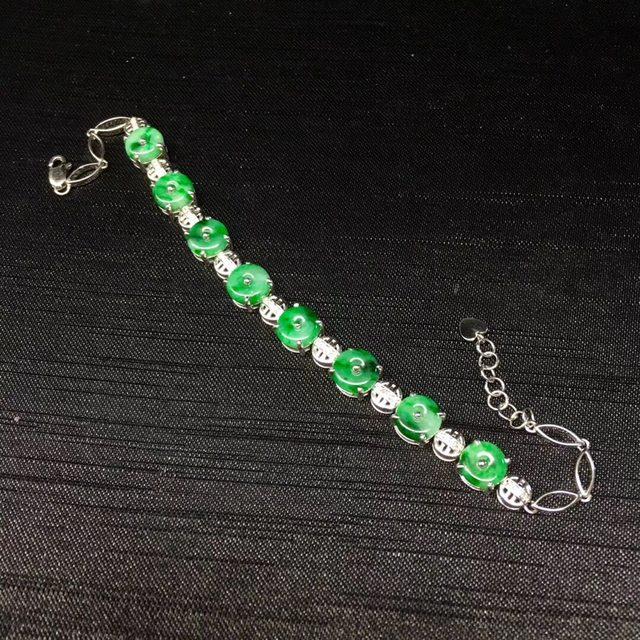 满绿翡翠平安扣白金手链