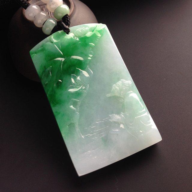 糯冰种带色青山抚琴 翡翠吊坠 尺寸60-36-7毫米