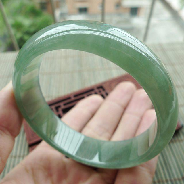 A货翡翠手镯 冰油满绿正装手镯57.5mm