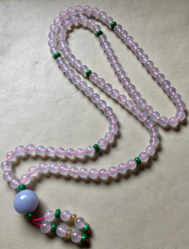 冰透水润粉紫罗兰翡翠珠链
