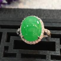 冰种大满绿 翡翠戒指15.6*13.4*10.4mm