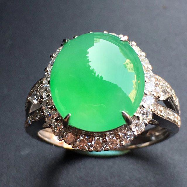 12.1*10.7*5mm冰种阳绿 缅甸天然翡翠戒指