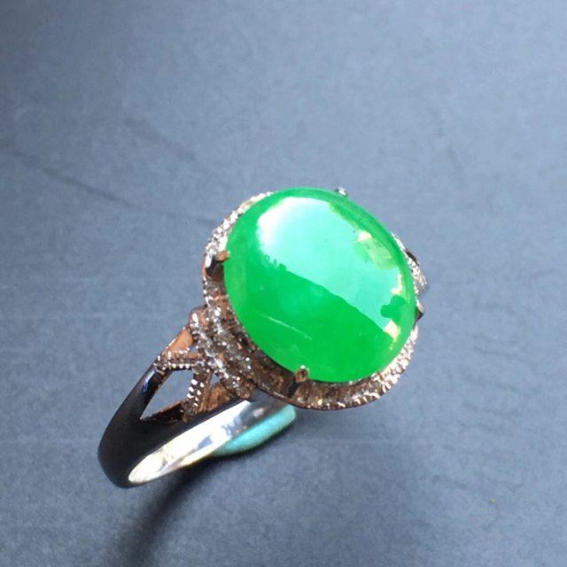 冰种阳绿 缅甸天然翡翠戒指大小9.5*8.3*3mm