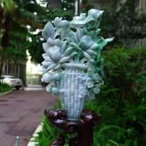 老坑紫底飘阳绿 翡翠A货 莲花和和美美花瓶摆件