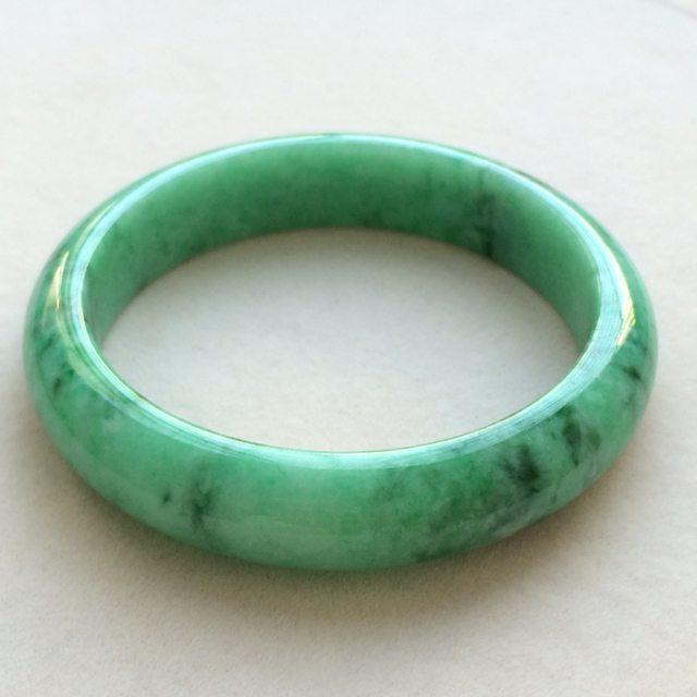 糯种满绿 缅甸天然翡翠手镯 正 尺寸:57寸