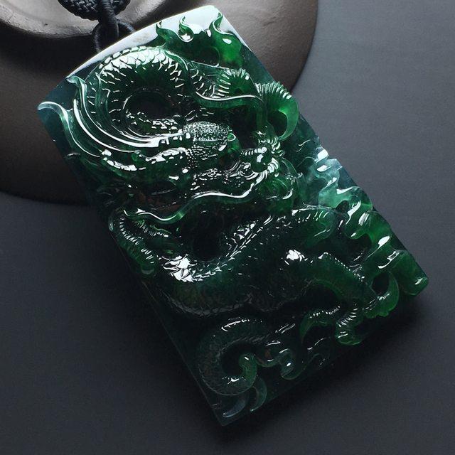 冰糯种深绿翡翠吊坠 尺寸60-40-13