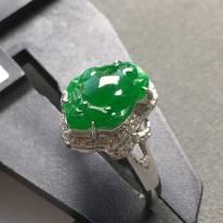 冰種滿色 緬甸天然翡翠戒指 18K金鑲嵌鉆石