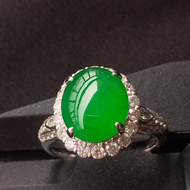 老坑冰透绿蛋翡翠戒指