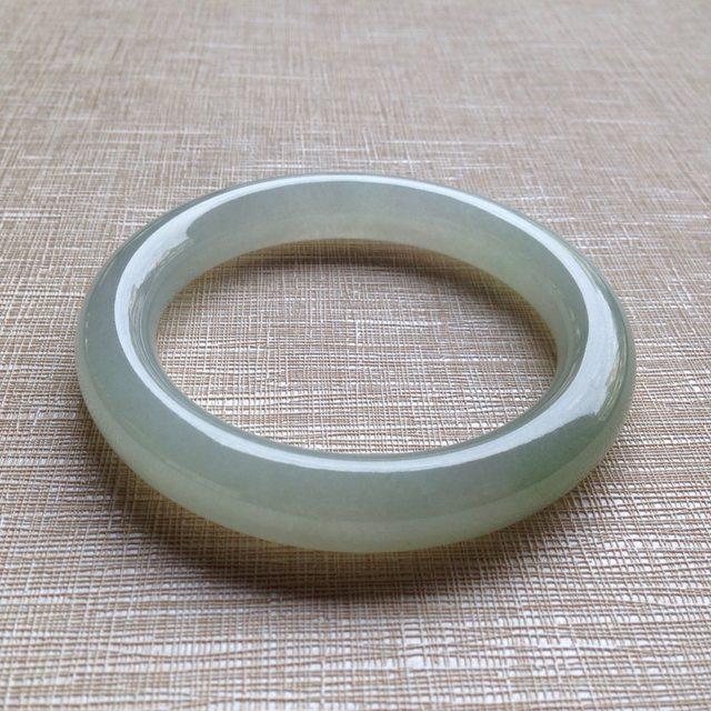 冰糯晴水翡翠手镯  缅甸天然翡翠圆条平安镯 尺寸:58.5/11.9/11mm