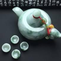 细糯种飘花f翡翠茶壶小摆件