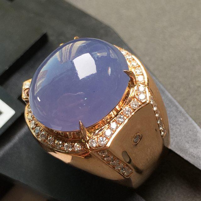 冰紫色 缅甸天然翡翠戒指 18K金镶嵌钻石