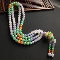 三彩天然翡翠佛珠项链 直径7.5mm