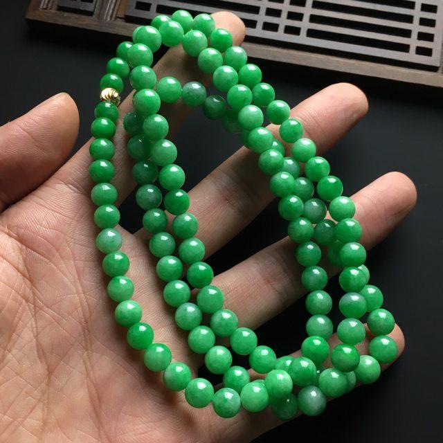 冰润阳绿天然翡翠项链 直径7毫米图7
