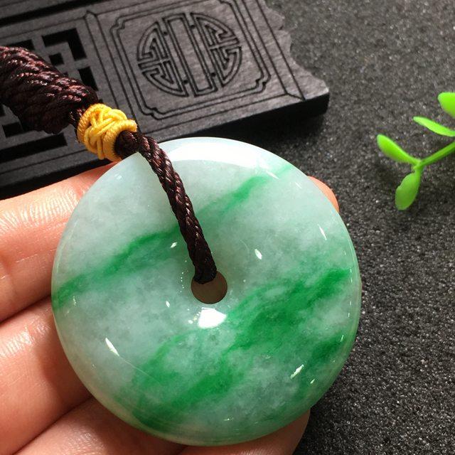 阳绿平安扣 翡翠挂件 尺寸44.8*7.0mm