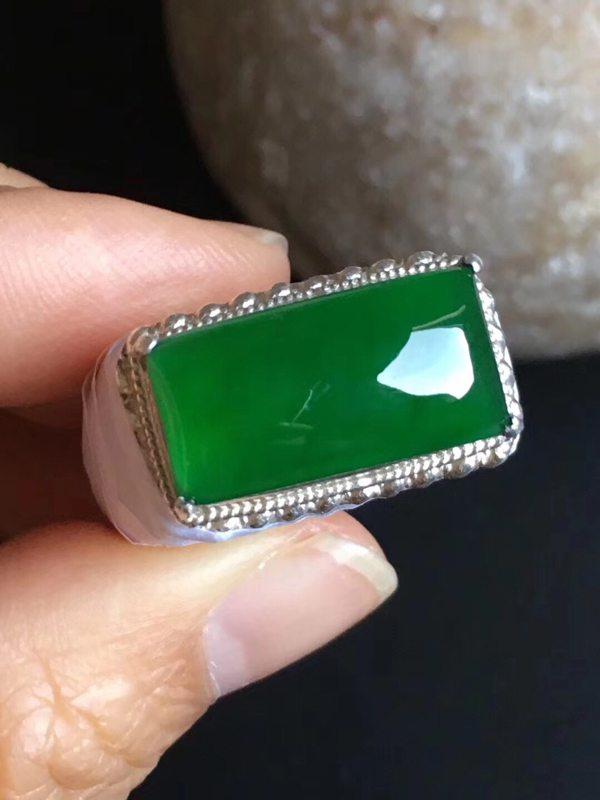 老坑冰种 缅甸天然翡翠戒指18.3-9.5-5.6mm