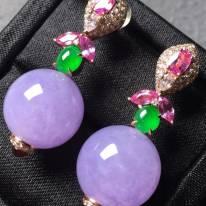 冰纯紫罗兰 翡翠耳坠 圆珠直径14.1mm