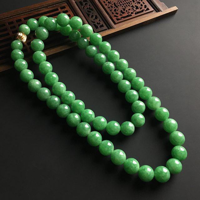 糯冰满绿 天然翡翠佛珠项链 单颗佛珠直径11毫米