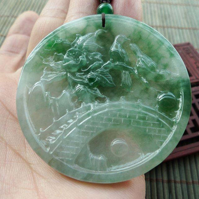 冰糯种飘绿花 双喜临门翡翠挂件 尺寸52.4*5.5mm