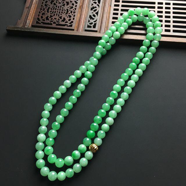 阳绿天然翡翠项链 直径7毫米图8