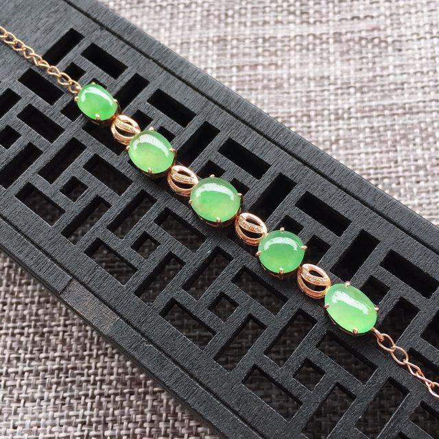 冰糯种满绿女士翡翠手链