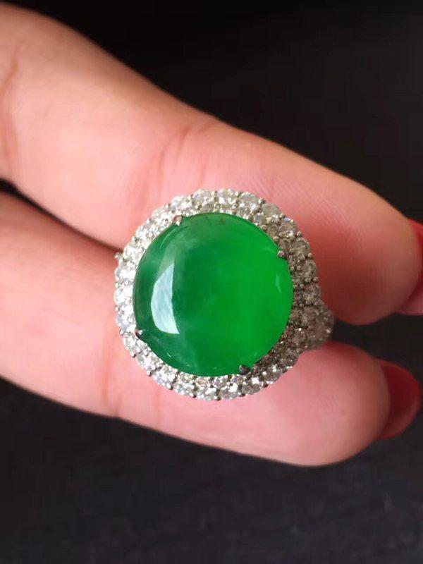 高冰种艳阳绿 缅甸天然翡翠戒指