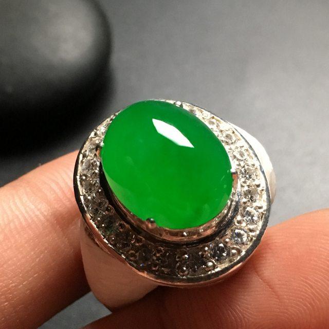 15.5-11.5-8.5寸冰种阳绿 缅甸天然翡翠戒指