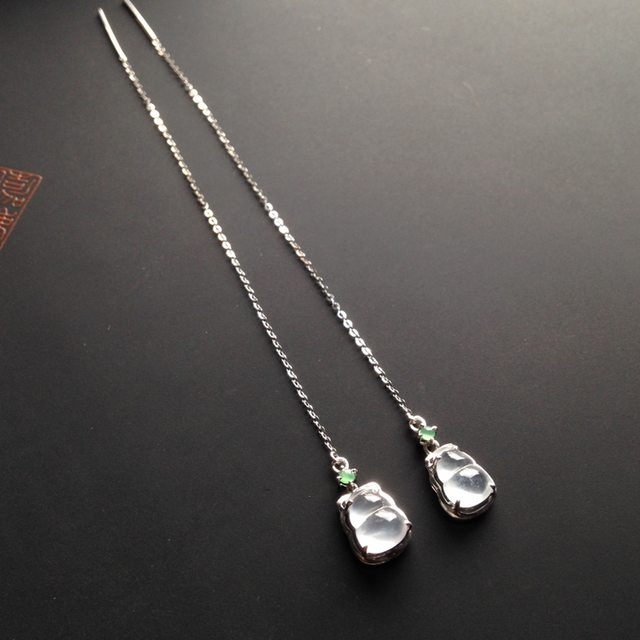 冰种荧光 福禄翡翠耳坠7-5-2.5毫米