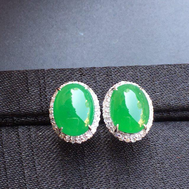 冰种阳绿 翡翠耳钉大小10.2*7.9*4mm