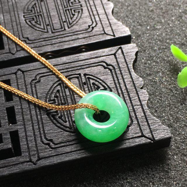 阳绿平安扣 翡翠挂件 尺寸14.9*6.1mm