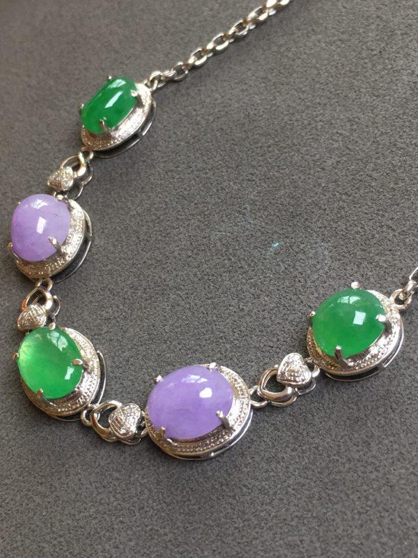 冰种紫加绿 天然翡翠手链图1