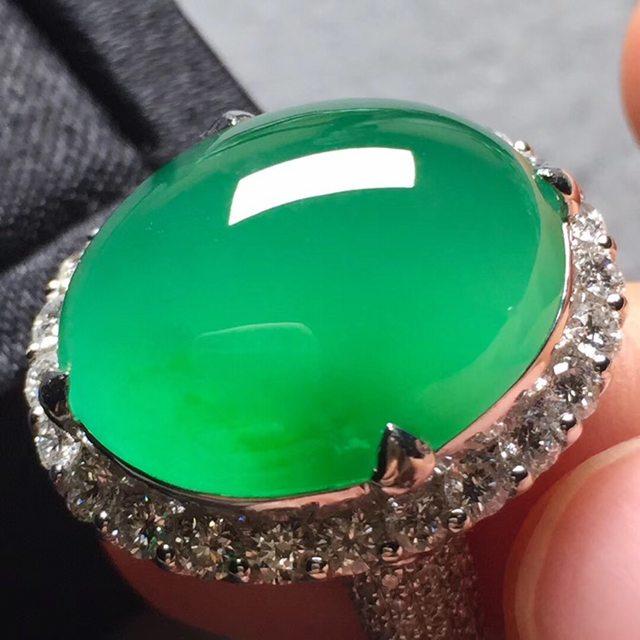 20*15.8*7寸玻璃种阳绿 缅甸天然翡翠戒指