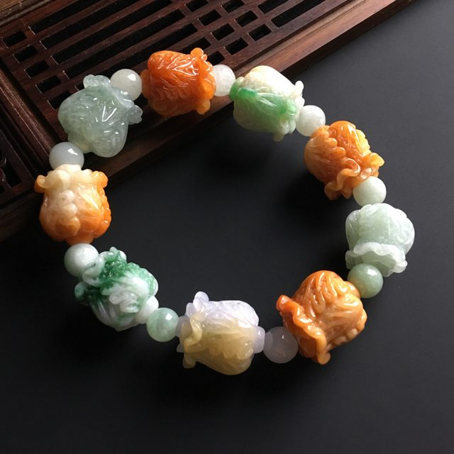 糯冰种多彩 天然翡翠百财手链 单个尺寸17-15毫米