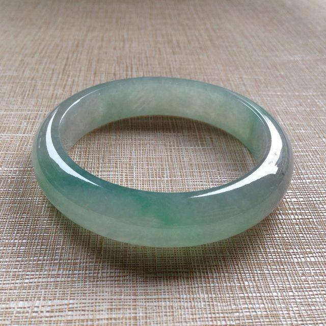 冰润飘色翡翠平安镯:57.4-14-8.5mm