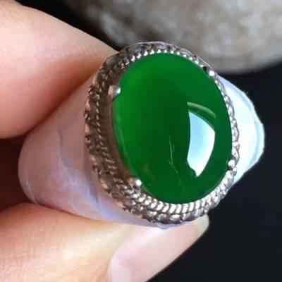 14-11-4.4mm老坑冰种 缅甸天然翡翠戒指