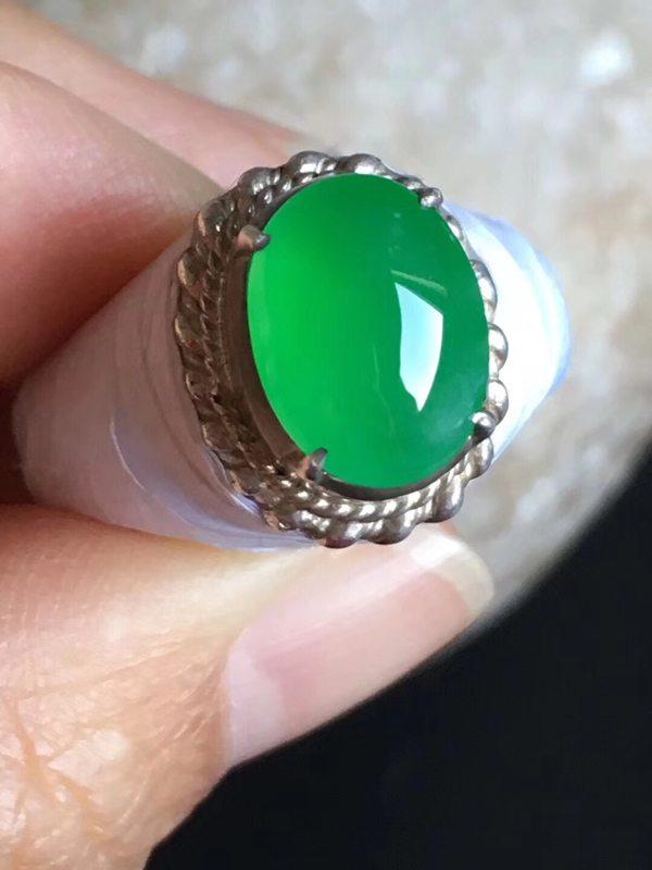 11.3-8.4-4.6mm老坑冰种 缅甸天然翡翠戒指