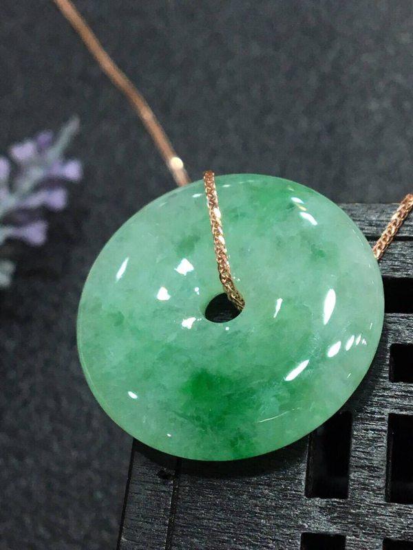 冰种阳绿翡翠平安扣吊坠