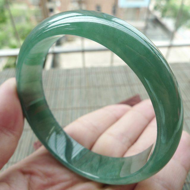 A货翡翠手镯  冰油满绿正装手镯57.3mm