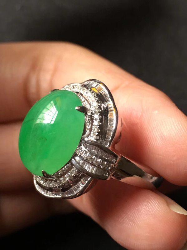 14.5*11.5*6寸冰种阳绿 缅甸天然翡翠戒指