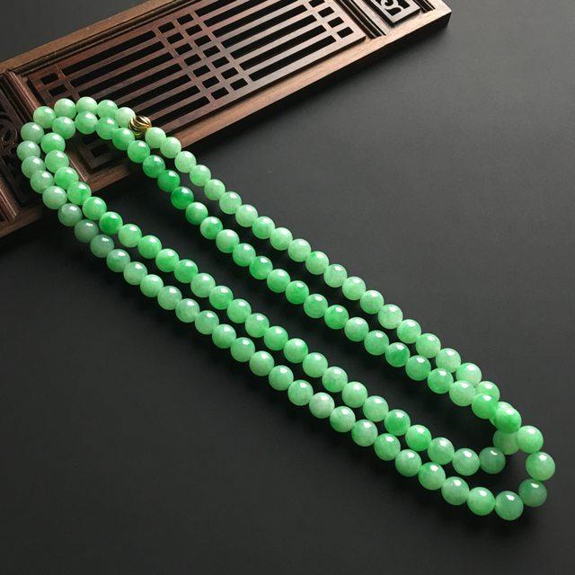 阳绿天然翡翠项链 直径7毫米