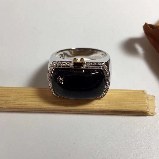 墨翠 缅甸天然翡翠戒指 18.1-10.8-8.2mm