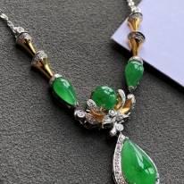 冰滿綠天然翡翠鎖骨項鏈