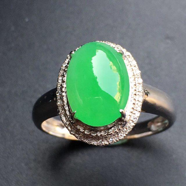 9.8*7.4*4寸冰种阳绿蛋面 缅甸天然翡翠戒指