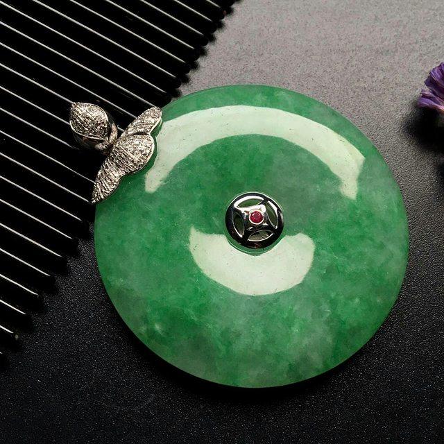 冰种飘绿翡翠平安扣吊坠  尺寸: 45-7.5mm