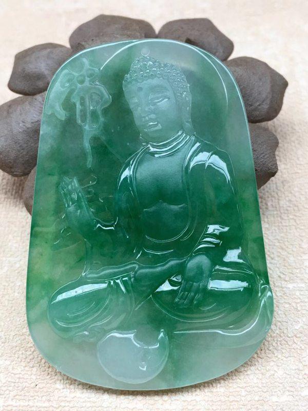老坑料冰糯种满绿 如来佛祖翡翠吊坠