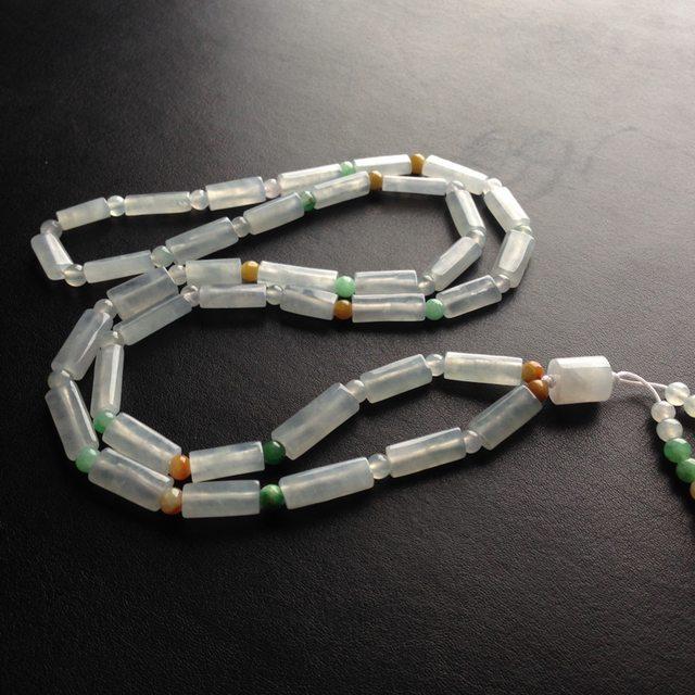 糯冰种路路通天然翡翠项链 38颗 单颗尺寸17-6-5毫米图1