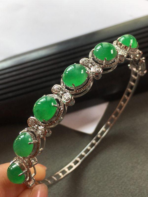 冰种满绿镶嵌翡翠手镯