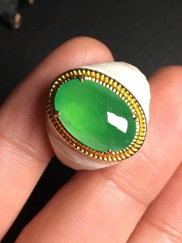 15.2-10.2-4.4毫米高冰阳绿 缅甸天然翡翠戒指