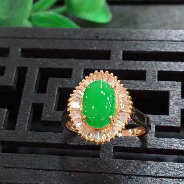 14.6*12.6*7.7寸冰糯种色正阳绿 缅甸天然翡翠戒指