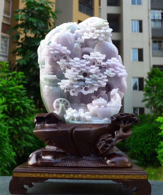 230.180.80寸冰糯浅紫色 高山流水翡翠摆件图8
